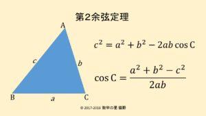 第2余弦定理の公式は辺と角度の関係を簡潔に表す